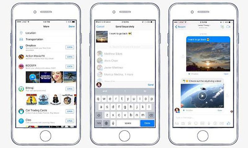 """A partir de ahora, cuando se toca el botón 'Más' en Messenger para iOS o Android, aparece Dropbox como una opción disponible. Con la aplicación de Dropbox instalada en tu teléfono, puedes compartir cualquier archivo que hayas almacenado allí sin tener que salir de la aplicación Messenger. """"Queremos que las personas se comuniquen de la manera que quieran en Messenger, con toda la gente que les importa"""", ha explicado Stan Chudnovsky, jefe de producto para Messenger: """"dar a nuestros usuarios la posibilidad de compartir sus vídeos e imágenes de Dropbox en las conversaciones de Messenger con sólo unos 'clics' les ayudará a hacer más personales esas conversaciones"""". Para poder utilizar esta nueva opción deberás tener actualizadas las dos apps en tu terminal."""